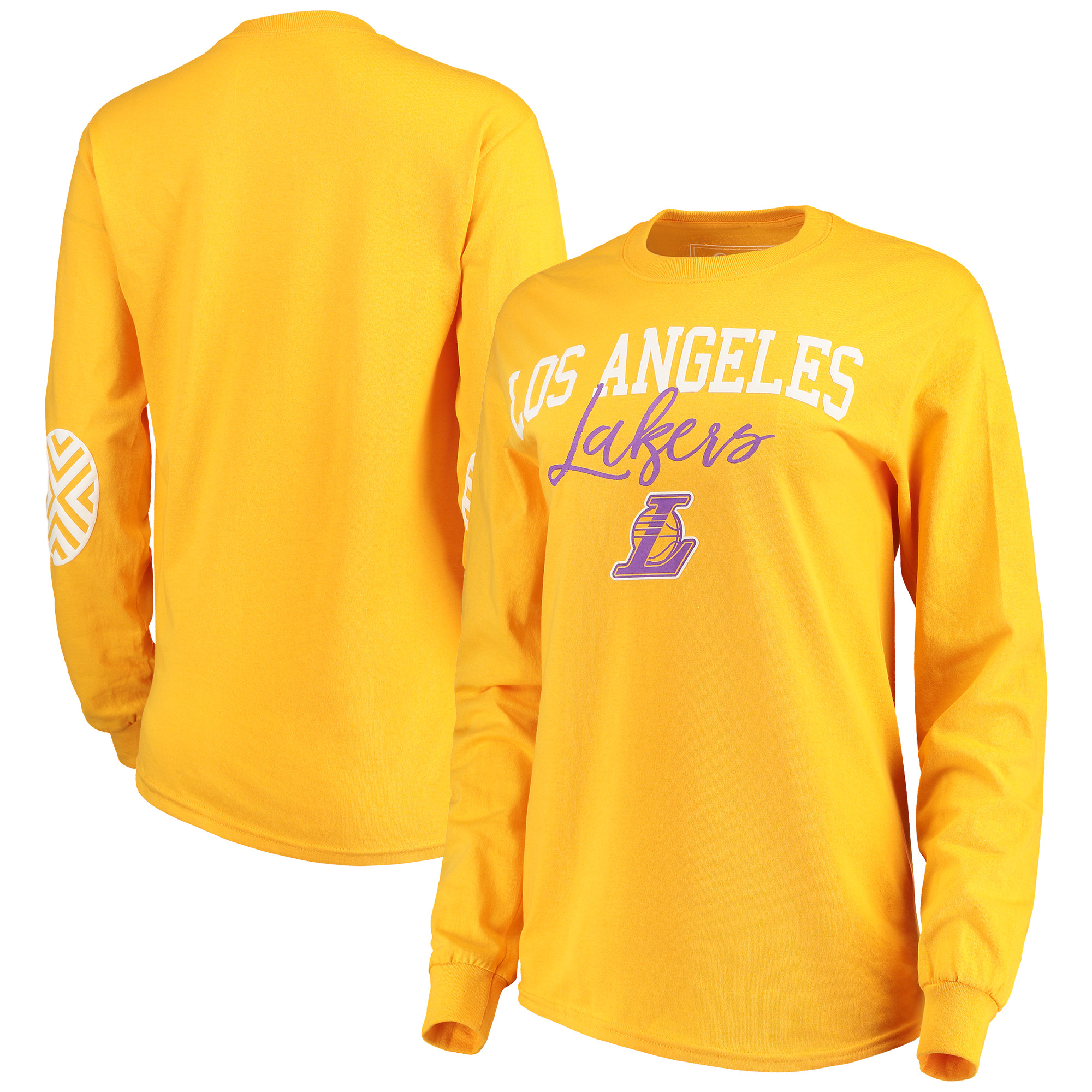 Los Angeles Lakers Women's Elbow Patch Long Sleeve T-Shirt - Gold
