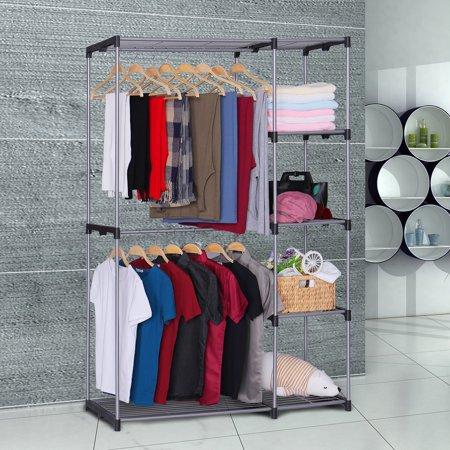 - Zimtown Portable 5 Tier Closet Storage Organizer Wardrobe Clothes Rack