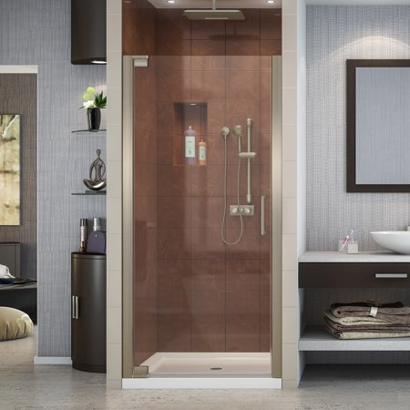DreamLine Elegance 32 1/4 - 34 1/4 in. W x 72 in. H Frameless Pivot Shower Door in Brushed Nickel Custom Pivot Shower Door