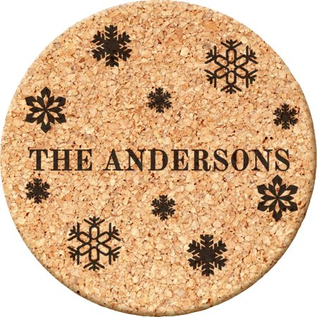 Custom Gifts Snowflakes Family Round Cork Coasters for $<!---->