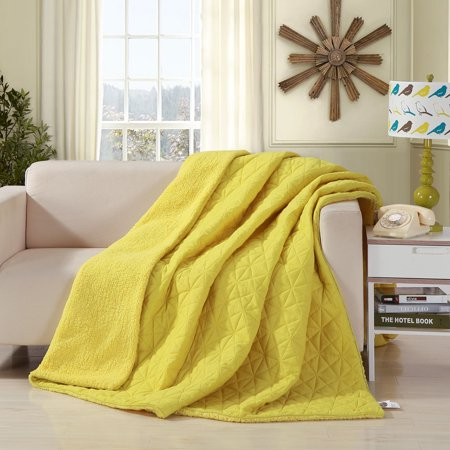 DaDa Bedding Tuscan Sun Reversible Soft Stitched Sherpa Backside Quilted Ultra Sonic Throw Blanket - Bright Vibrant Solid Yellow - Twin ()