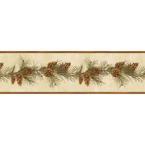 Brewster Home Fashions Borders by Chesapeake Fleming Pine Boughs Trail 15' x 6.3'' Floral 3D Embossed Border Wallpaper