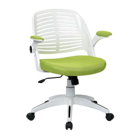 Tyler Adjustable Height Swivel Office Chair With Arms White Frame With Green