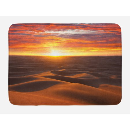 Golden Coral - Desert Bath Mat, Dramatic Sunset Scenery at Sahara Dunes Arid Landscape Morrocco Summer Nature, Non-Slip Plush Mat Bathroom Kitchen Laundry Room Decor, 29.5 X 17.5 Inches, Gold Yellow Coral, Ambesonne