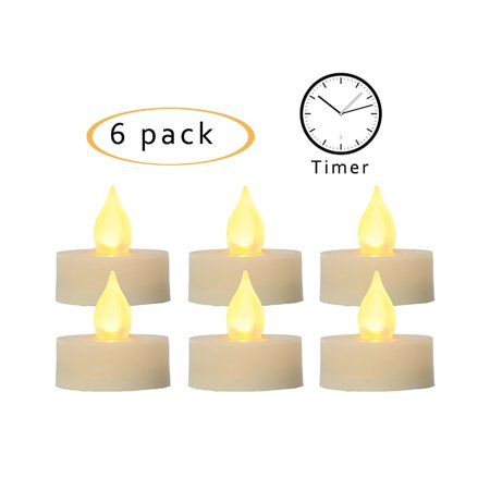 """Flameless LED Tea Lights with Timer Realistic Flickering Electric Battery Operated Powered Tealight Votive Candles , Size 1.5""""(D)x1.5""""(H), 6-Pack, Long Lasting Batteries Included ()"""