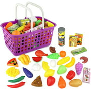 click n play 33 pc kids pretend play grocery shopping play toy food set price