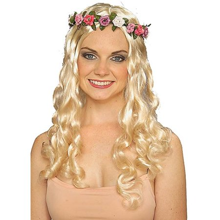 Womens Blonde Wavy Renaissance Maiden Fairy Wig With Flower Headband