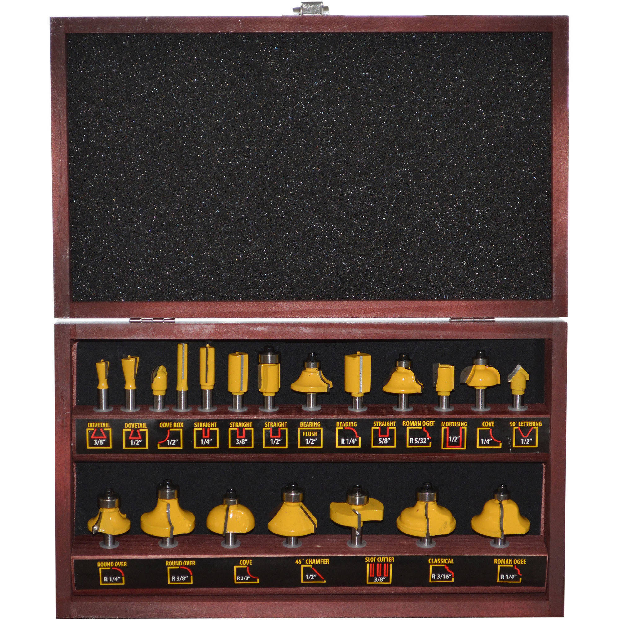 Pro-Series 20-Piece Router Bit Set in Wood Box