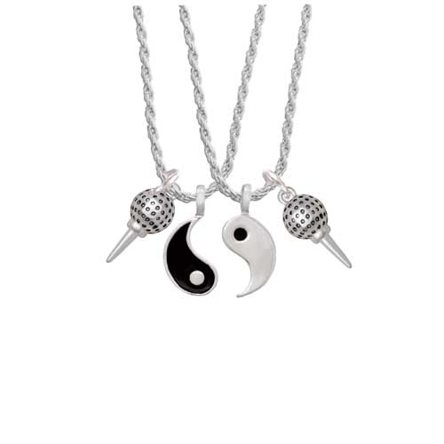"Golf Ball on Tee Yin Yang Necklace Set, 20""+3"" by Delight and Co."