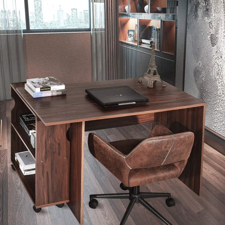 Homy Casa Large Writing Computer Desk Essential Study Table With Mobile Bookshelf Wooden Partical Board 47 X 23 3inch Brown Vintage Home Office Desk