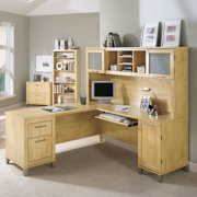 Bush Somerset L-Shaped Desk with Hutch - Maple