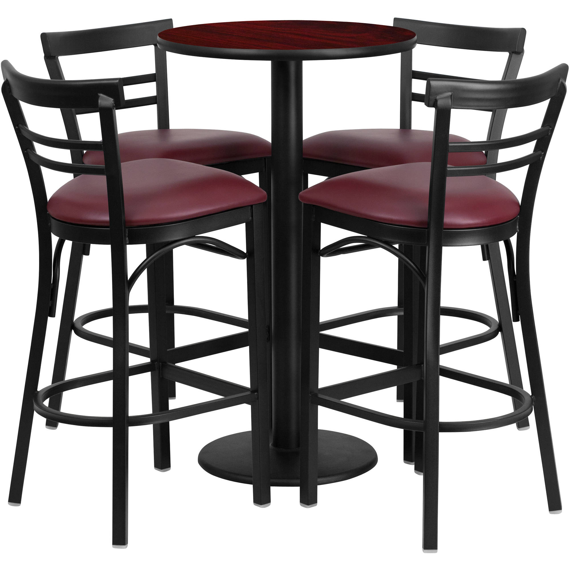 Flash Furniture 24'' Round Mahogany Laminate Table Set with 4 Ladder Back Metal Barstools, Burgundy Vinyl Seat
