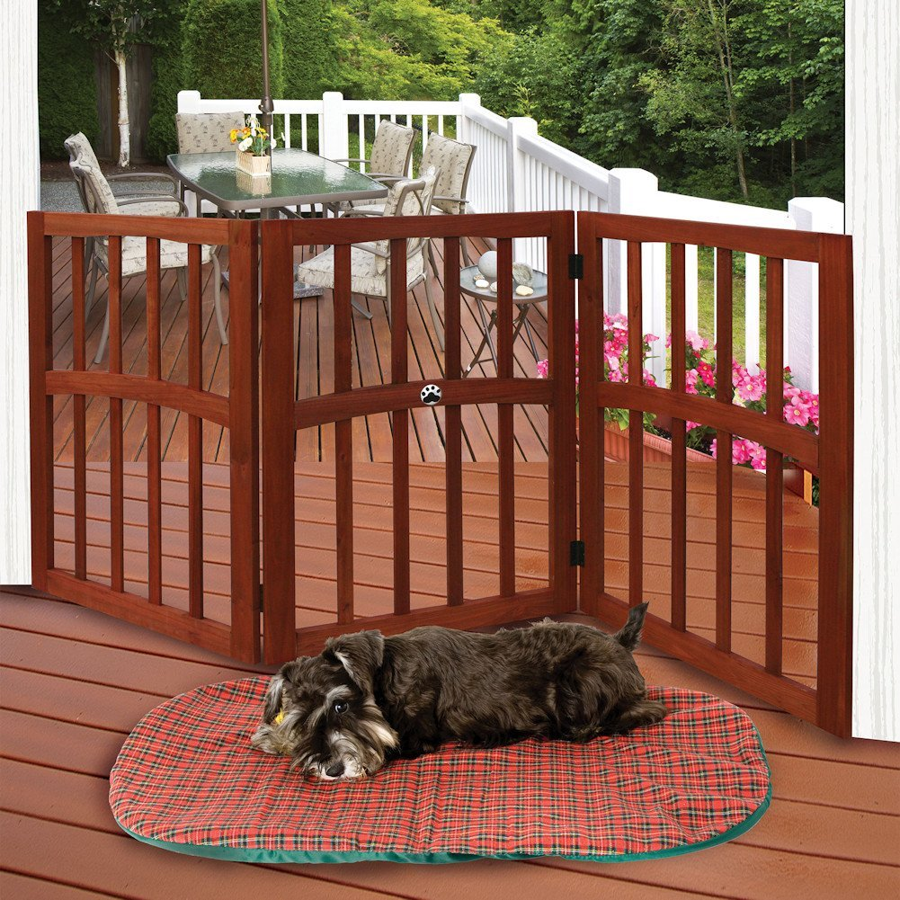 "Wooden Paw Print Accent Pet Dog Gate - Free Standing Tri-Fold 17"" Tall 52"" Wide By Etna"