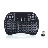 AOOLIVE 2.4GHz Wireless MINI i8 Warm White LED Backlight Keyboard with Touchpad for PC,Black