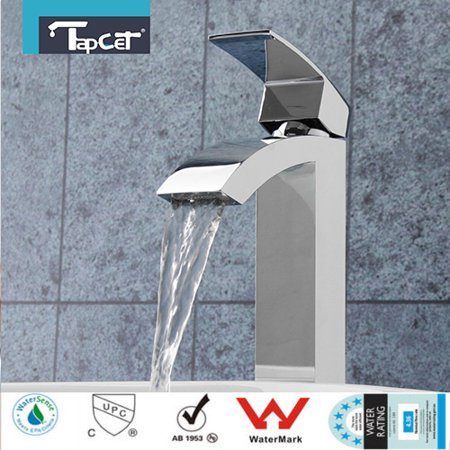 TAPCET Chrome Bathroom Waterfall Faucet Single Handle Sink Basin Mixer (Bathroom Taps)