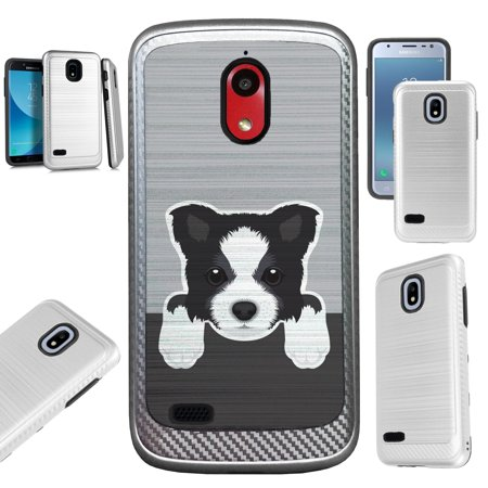 For Coolpad Illumina (2018) Case Brushed Metal Texture Hybrid TPU Artillery Phone Cover (Cute Dog Border (Best Dog Brush For Border Collie)