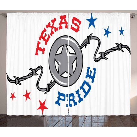 Texas Star Curtains 2 Panels Set, Lone Star and Barb Wire United States of America South Motif, Window Drapes for Living Room Bedroom, 108W X 96L Inches, Vermilion Blue and Pale Grey, by Ambesonne