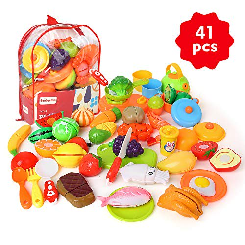 Beebeerun Cutting Pretend Play Food With Clear Back Pack 41 Pcs Toy Kitchen Set Food Learning Toys For 3 4 5 6 7 Years Old Toddler Boys And Girls Walmart Com Walmart Com