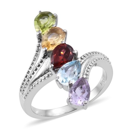 5 Stone Ring Stainless Steel Peridot Garnet Gift Jewelry for Women Ct 3.1