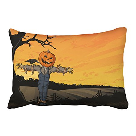WinHome Halloween Cartoon Scarecrow Crow Tree Pumpkin Nightfall Decorative Pillowcases With Hidden Zipper Decor Cushion Covers Two Side 20x30 inches