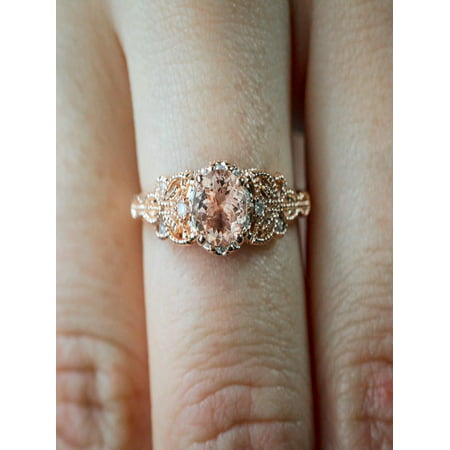Sale 1.25 Carat Peach Pink Morganite (Round Shaped Morganite) and Diamond Engagement Ring in 10k Rose Gold Jewelry ()