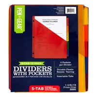 "Pen + Gear 5-Tab Durable Dividers with Pockets (8.5 x 11"", 12 Sets)"