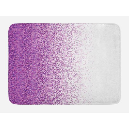 Magenta Bath Mat, Computer Art Style Tile Mosaic Squared Complex Pixel Party Mix Artistic Concept, Non-Slip Plush Mat Bathroom Kitchen Laundry Room Decor, 29.5 X 17.5 Inches, Purple White, Ambesonne