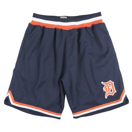 Mitchell And Ness Detroit Tigers Playoff Win Shorts Baseball Mesh Mlb Navy Mens