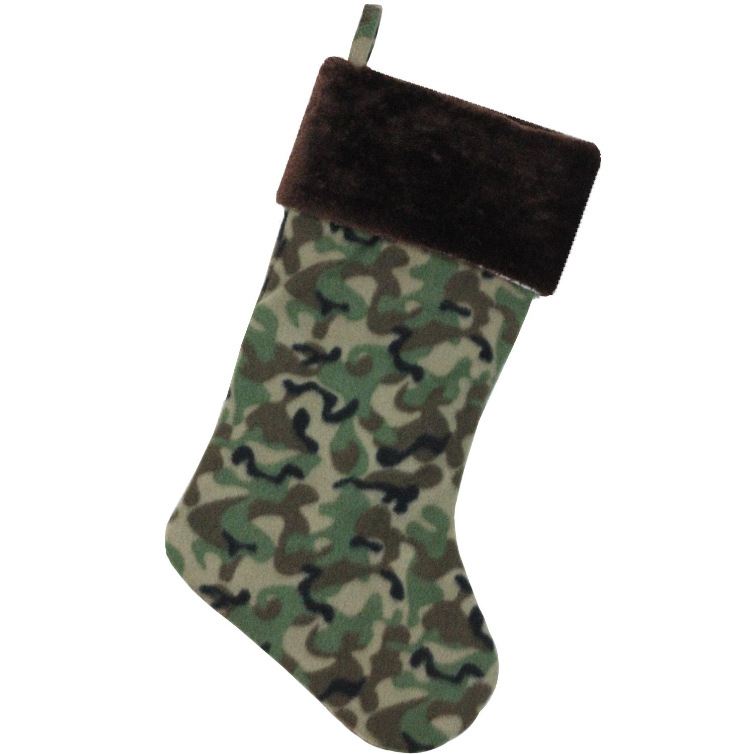 "19"" Brown and Green Camouflage Christmas Stocking with Brown Cuff"