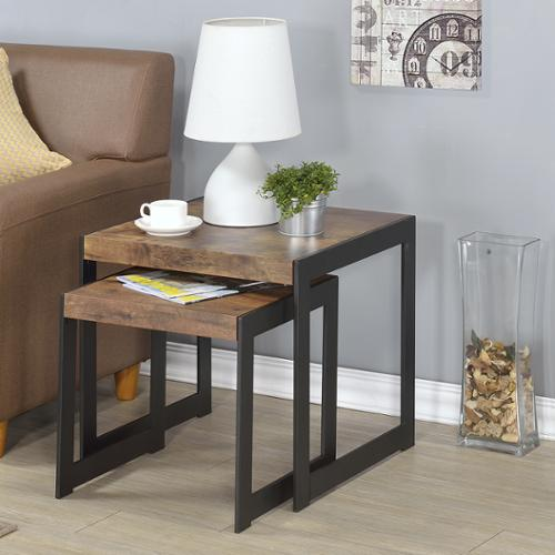 FHT Millenial Collection Industrial Finish Nesting Tables - Set of 2