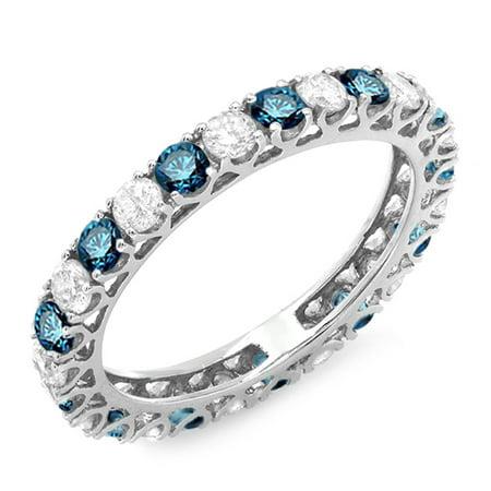 1.50 Carat (ctw) 14K White Gold Round White & Blue Diamond Ladies Eternity Wedding Anniversary Stackable Ring Band 1 1/2