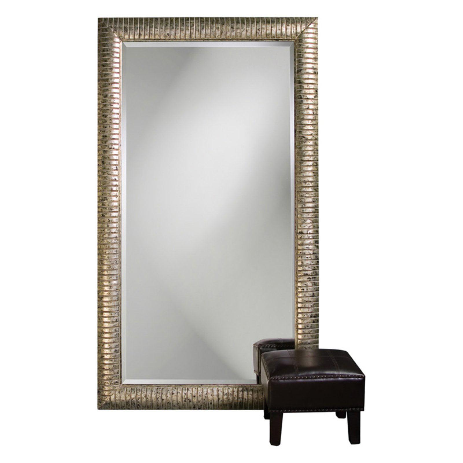 Elizabeth Austin Daniel Mottled Silver Leaf Leaning Floor Mirror 48W x 84H in. by Howard Elliott