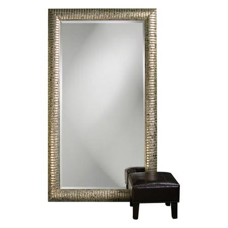 Elizabeth Austin Daniel Mottled Silver Leaf Leaning Floor Mirror - 48W x 84