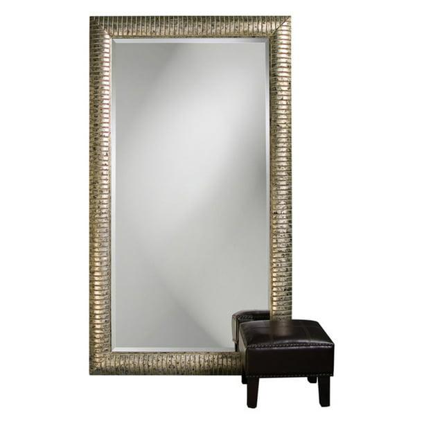 Elizabeth Austin Daniel Mottled Silver Leaf Leaning Floor Mirror