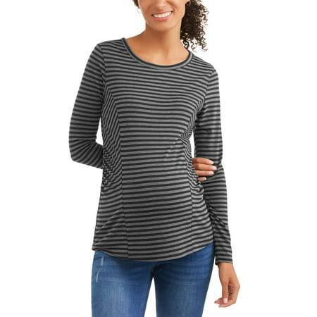 Sleeve Maternity Hoodie - Maternity Long Sleeve Stripe Top