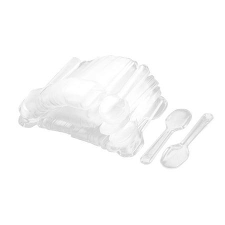 Unique Bargains 200pcs Wedding Birthday Party Clear Plastic Ice cream Frozen Yogurt Disposable Spoons ()