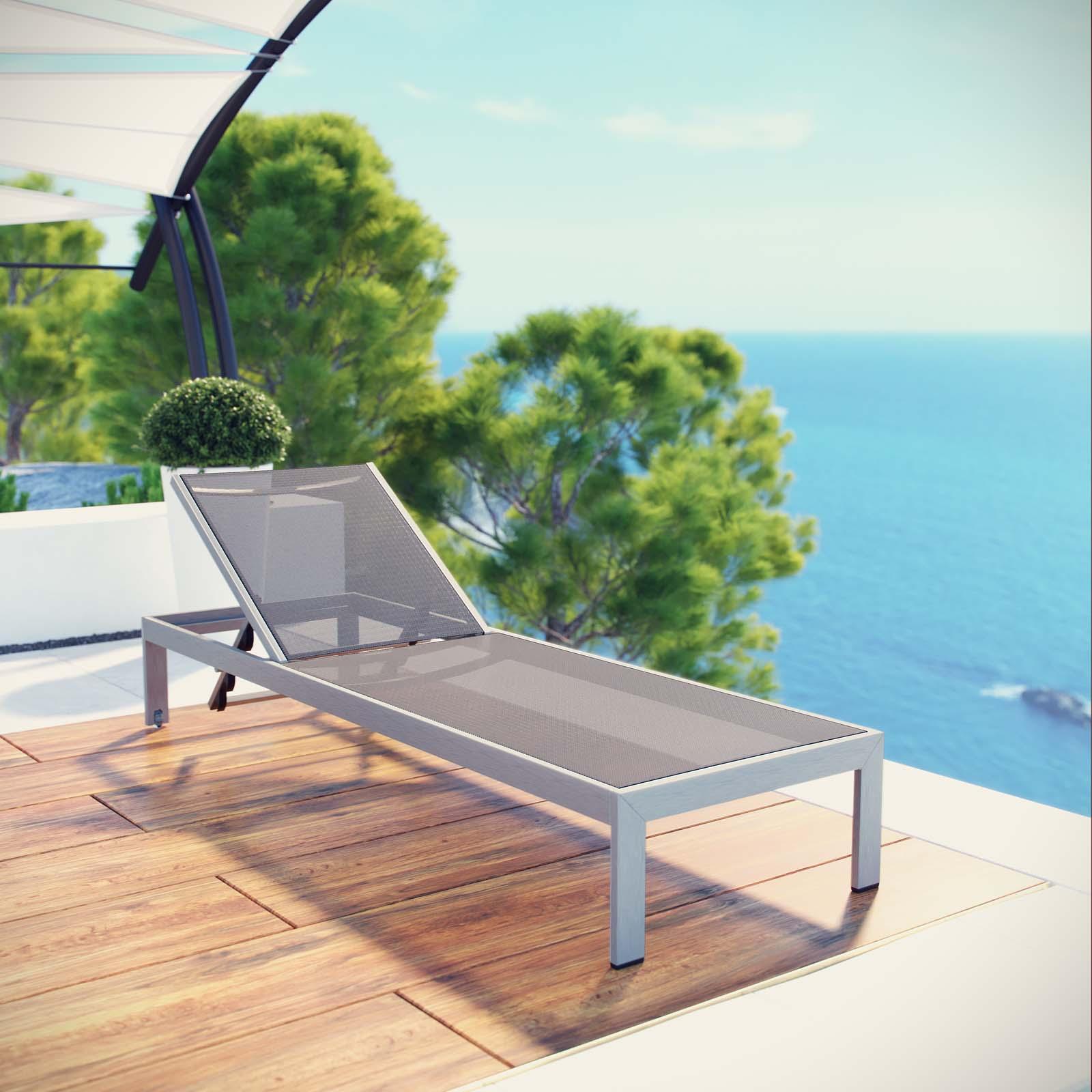 Modway Shore Outdoor Patio Aluminum Mesh Chaise, Multiple Colors