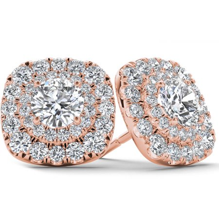 1/2 Carat T.W. Diamond 10kt Rose Gold Double-Halo Stud Earrings