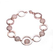 Collette Z  Rose Gold Cubic Zirconia Bracelet With Connecting Circles - White