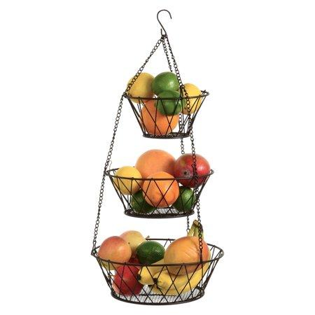 Heavy Duty - 3 Tier Hanging Kitchen Bronze Fruit Basket Bronze Crystal Basket