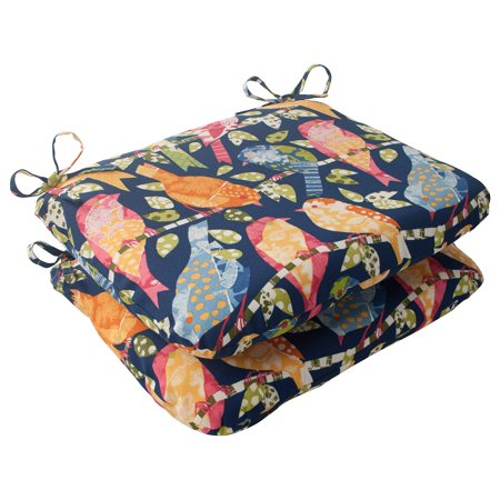 Set of 2 Solarium Colorful Bird Watchers Rounded Outdoor Seat Cushions 18.5