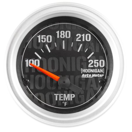 Autometer Cobalt Water (AutoMeter 4337-09000 Hoonigan Electric Water Temperature Gauge; 2-1/16 in.; Black Dial Face; Fluorescent Red Pointer; White Incandescent Lighting; Electric Air-Core; 100-250 Degree F; )