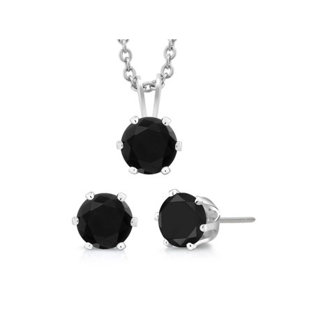 3-Piece Set: 3 Carat Total Weight Black Cubic Zirconia Necklace & Earrings Set Black Rhinestone Jewelry Set