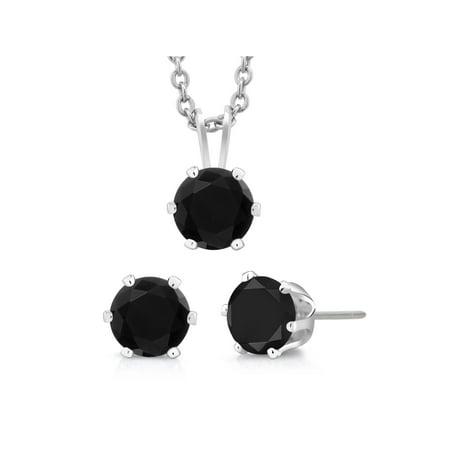 Black Jewelry Set (3-Piece Set: 3 Carat Total Weight Black Cubic Zirconia Necklace & Earrings Set)