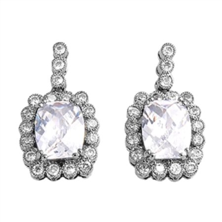 Clear Cubic Zirconia Center With Beaded Frame Fashion Earrings Sterling Silver