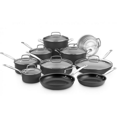 - Cuisinart Chef's Classic Nonstick Hard-Anodized 17-Piece Cookware Set, with Hard-Anodized Aluminum Exterior, includes 7-3/4-Inch Lidded Steamer and 9-1/2-Inch Pasta Insert
