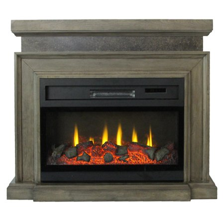 "Lifesmart 38"" Mantel Fireplace with 3D Flame and Remote Control"