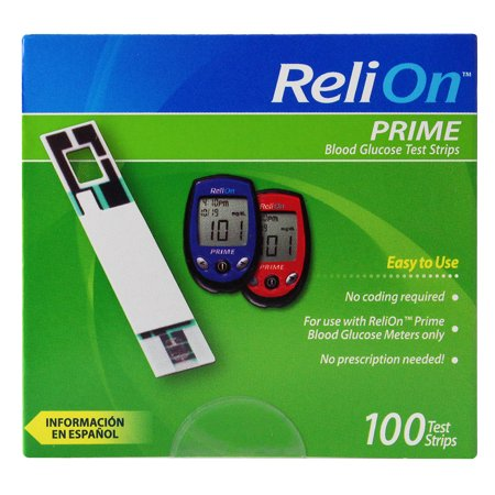 Relion Prime Blood Glucose Test Strips  100 Ct