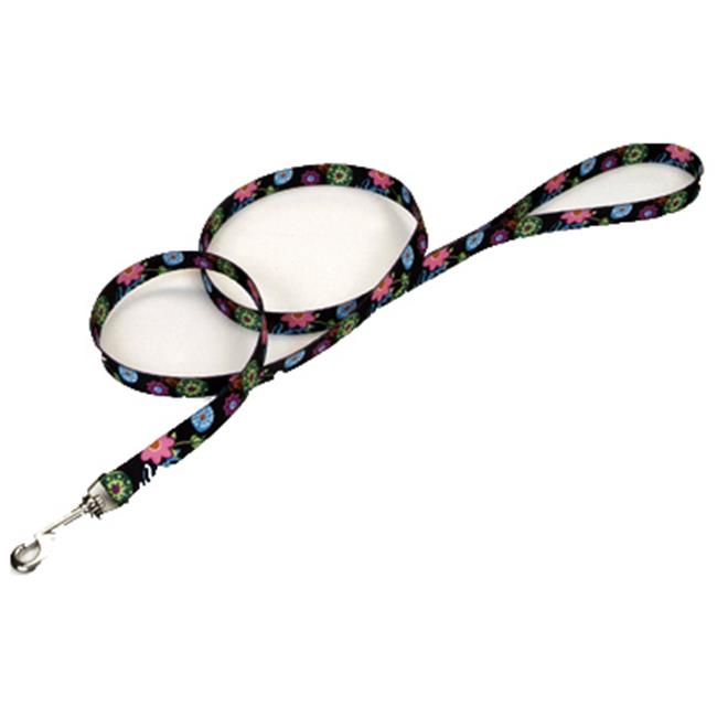 00966 WDF06 1 in. x 6 ft. Nylon Fashion Leash, Wildflower Pattern