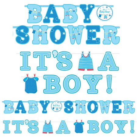 Shower With Love Baby Boy Banner Signs (2 Count) - Baby Shower Party Supplies](Baby Boy Party Supplies)